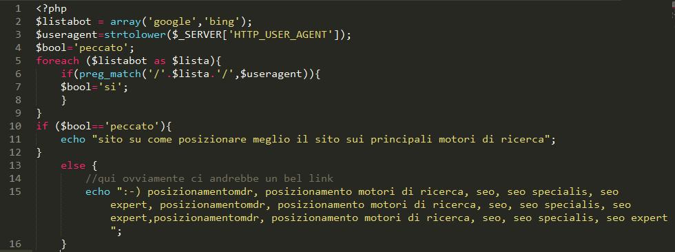 cloaking codice esempio