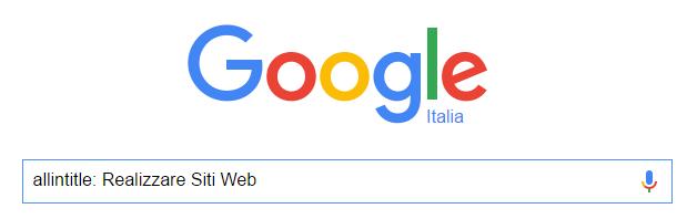 operatori di google allintitle