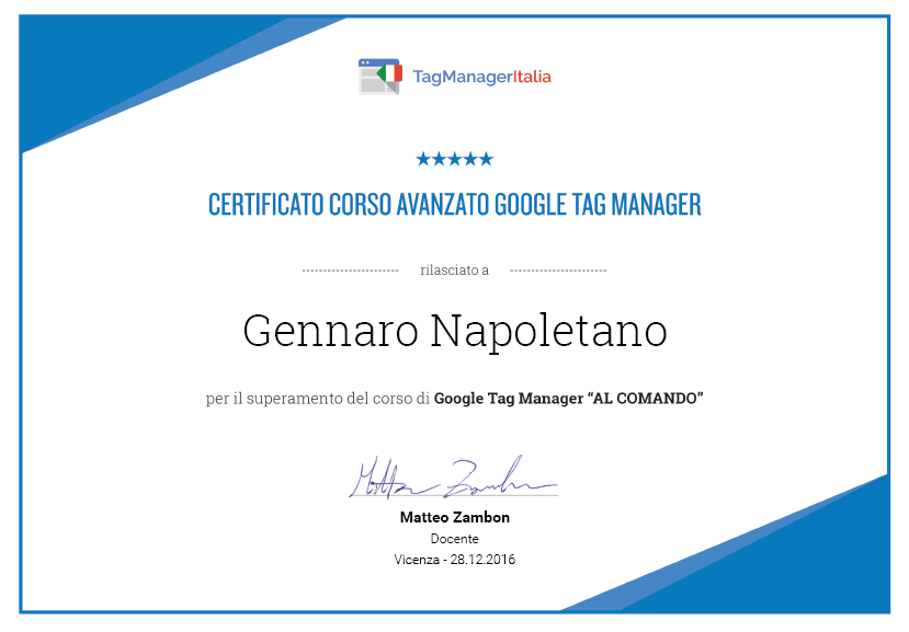 certificazione google tag manager